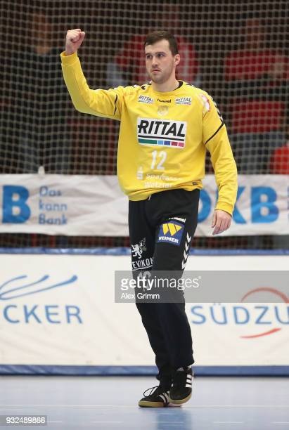 Goalkeeper Benjamin Buric of Wetzlar celebrates after a save during the DKB HBL match between Die Eulen Ludwigshafen and HSG Wetzlar at...