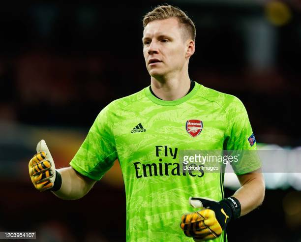 goalkeeper Bernd Leno of Arsenal FC gestures during the UEFA Europa League round of 32 second leg match between Arsenal FC and Olympiacos FC at...