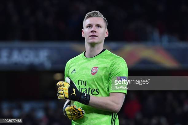Goalkeeper Bernd Leno of Arsenal FC looks on during Europa League Round of 32 2nd Leg between Arsenal and Olympiakos at Emirates stadium London...