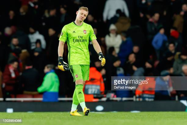 goalkeeper Bernd Leno of Arsenal FC looks on during the UEFA Europa League round of 32 second leg match between Arsenal FC and Olympiacos FC at...