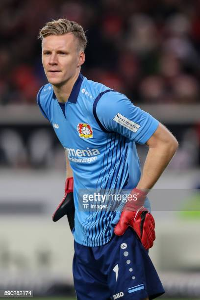 Goalkeeper Bernd Leno of Bayer Leverkusen looks on during the Bundesliga match between VfB Stuttgart and Bayer 04 Leverkusen at MercedesBenz Arena on...