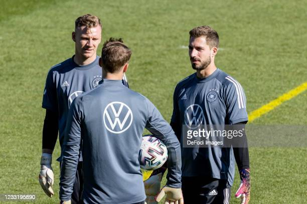 Goalkeeper Bernd Leno of Germany, goalkeeper Manuel Neuer of Germany and goalkeeper Kevin Trapp of Germany look on during Day 3 of the Germany...