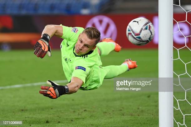 Goalkeeper Bernd Leno of Germany makes a save during the UEFA Nations League group stage match between Switzerland and Germany at St. Jakob-Park on...