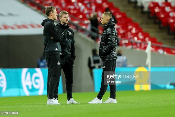 Goalkeeper Bernd Leno of Germany Timo Werner of Germany Joshua Kimmich of Germany looks on during the international friendly match between England...