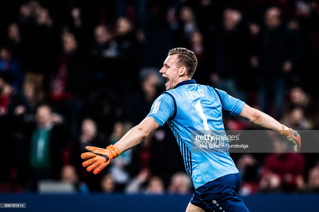 Goalkeeper Bernd Leno of Leverkusen celebrates his teams second goal during the Bundesliga match between Bayer 04 Leverkusen and Borussia Moenchengladbach at BayArena on March 10, 2018 in Leverkusen, Germany.