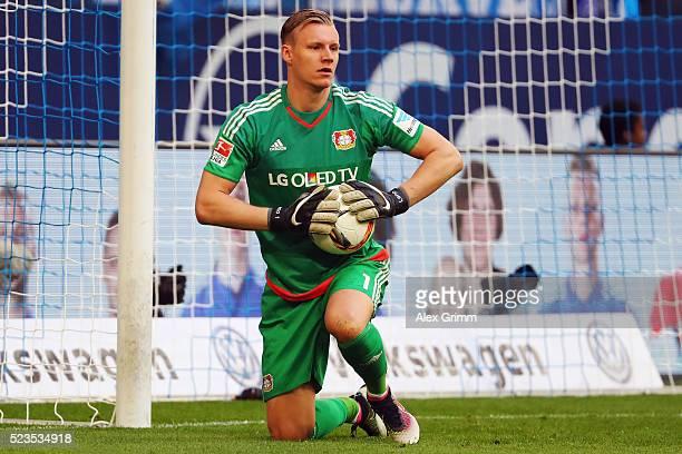 Goalkeeper Bernd Leno of Leverkusen holds the ball during the Bundesliga match between FC Schalke 04 and Bayer Leverkusen at VeltinsArena on April 23...