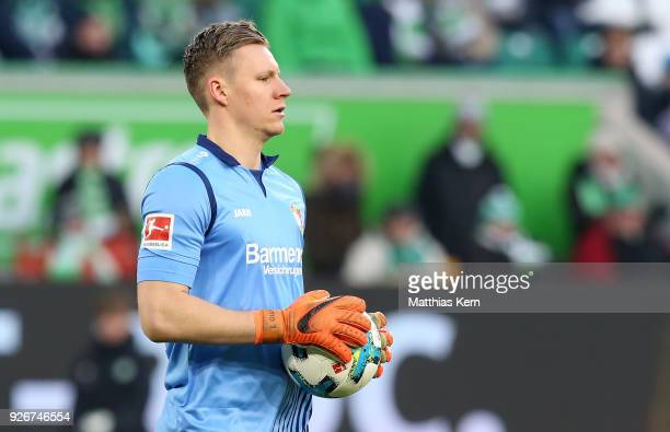Goalkeeper Bernd Leno of Leverkusen looks on during the Bundesliga match between VfL Wolfsburg and Bayer 04 Leverkusen at Volkswagen Arena on March 3...