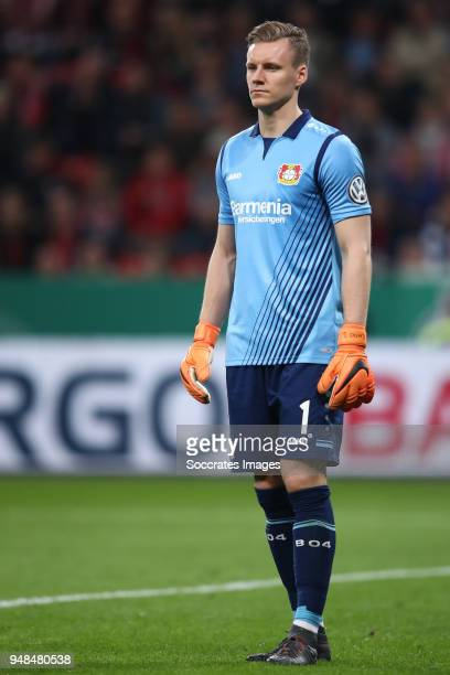Goalkeeper Bernd Leno of Leverkusen reacts during the DFB Cup semi final match between Bayer 04 Leverkusen and Bayern Muenchen at BayArena on April...