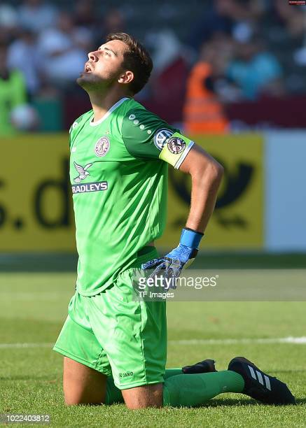 Goalkeeper Bernhard Hendl of BFC Dynamo looks dejected during the DFB Cup first round match between BFC Dynamo and 1 FC Koeln at Olympiastadion on...