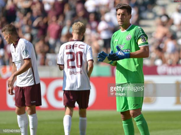 Goalkeeper Bernhard Hendl of BFC Dynamo looks on during the DFB Cup first round match between BFC Dynamo and 1 FC Koeln at Olympiastadion on August...