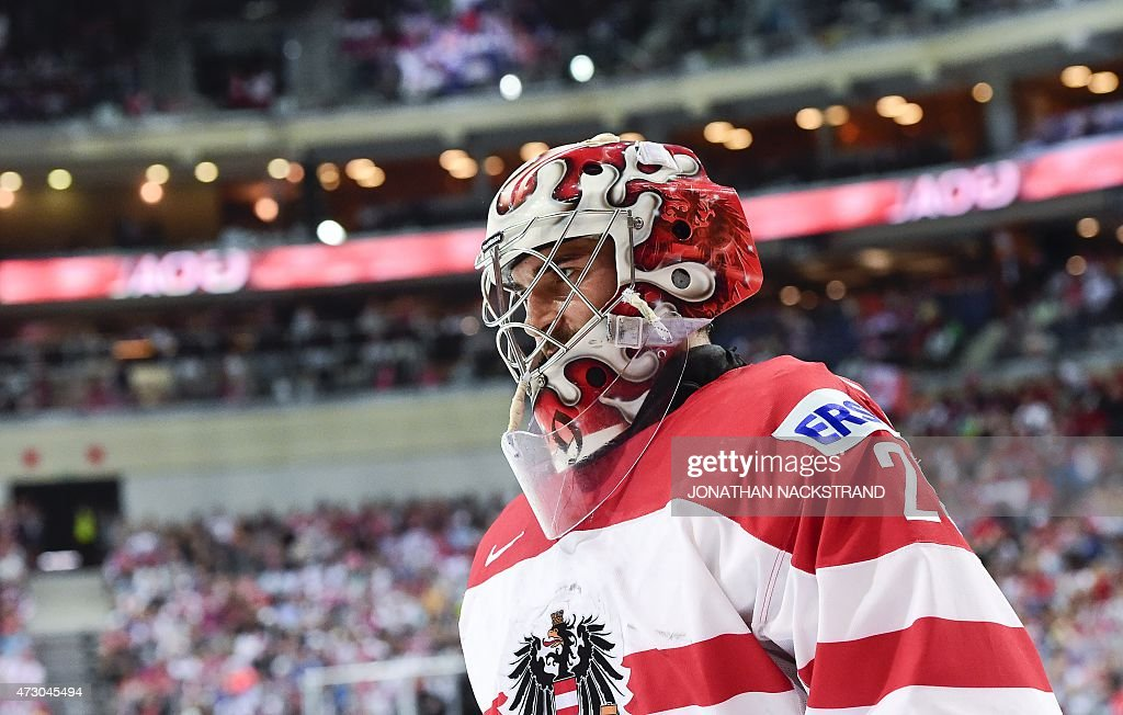 Goalkeeper Bernhard Starkbaum of Austria reacts after a goal by forward Jordan Eberle of Canada during the group A preliminary round match Canada vs Austria of the 2015 IIHF Ice Hockey World Championships on May 12, 2015 at the O2 Arena in Prague.