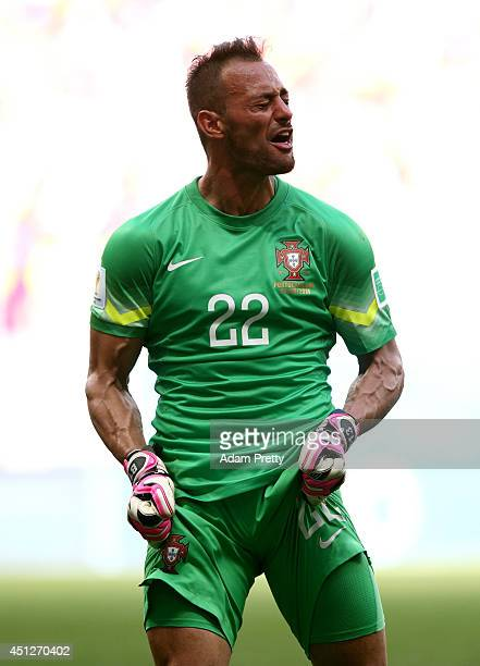 Goalkeeper Beto of Portugal reacts during the 2014 FIFA World Cup Brazil Group G match between Portugal and Ghana at Estadio Nacional on June 26 2014...
