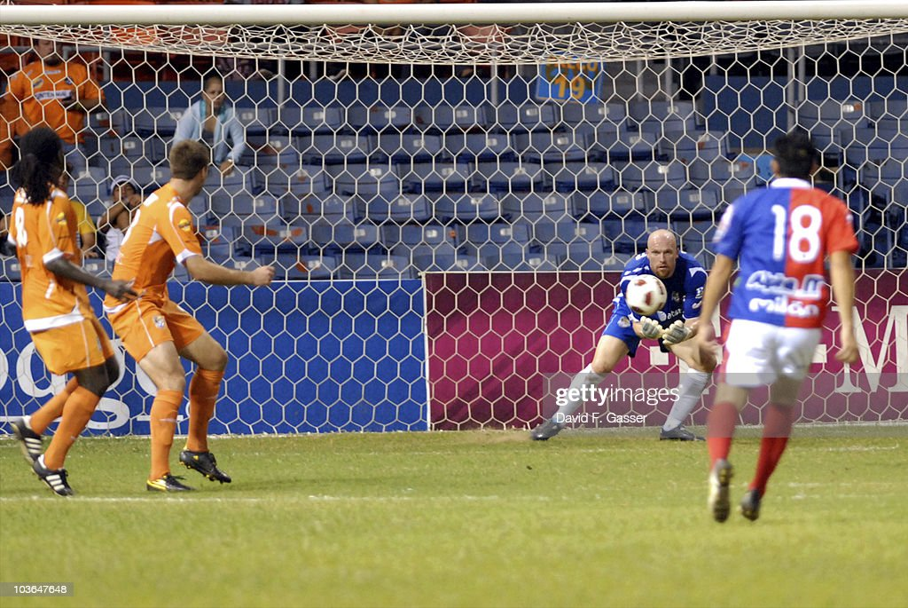 Goalkeeper Bill Gaudette of Islanders defends a goal of FAS during their match as part of 2010 CONCACAg Champions League at Juan Ramon Loubriel Stadium on August 25, 2010 in Baymon, Puerto Rico.