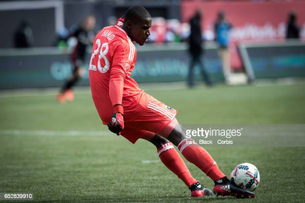 Goalkeeper Bill Hamid of DC United clears the ball out during the 2017 MLS Season Opening match between NYCFC vs DC United on March 12 2017 at Yankee...