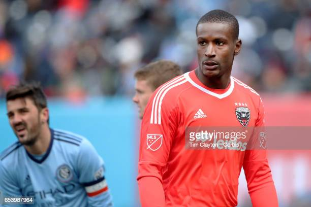 Goalkeeper Bill Hamid of DC United during the NYCFC Vs DC United regular season MLS game at Yankee Stadium on March 12 2017 in New York City