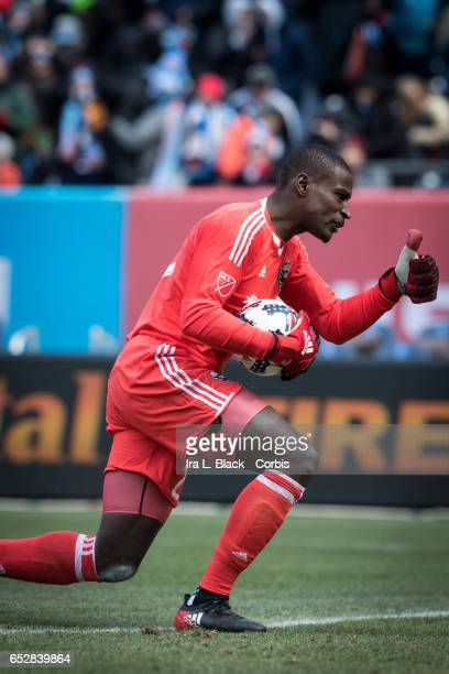 Goalkeeper Bill Hamid of DC United keeps reacts after stopping a shot on goal by New York City FC during the 2017 MLS Season Opening match between...