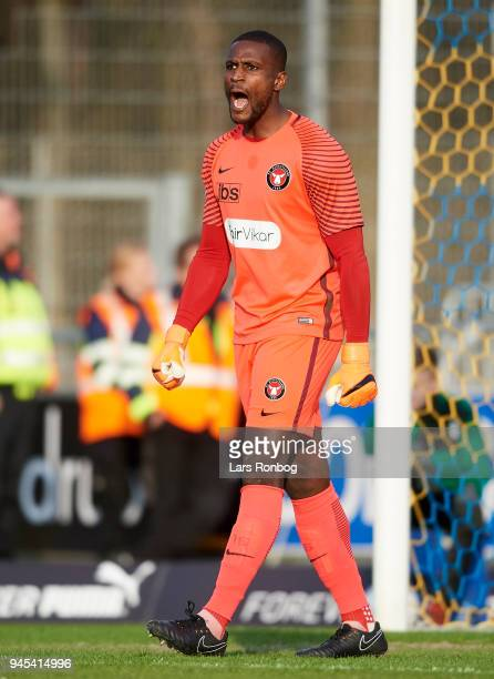Goalkeeper Bill Hamid of FC Midtjylland in action during the Danish DBU Pokalen Cup quarterfinal match between Hobro IK and FC Midtjylland at DS...