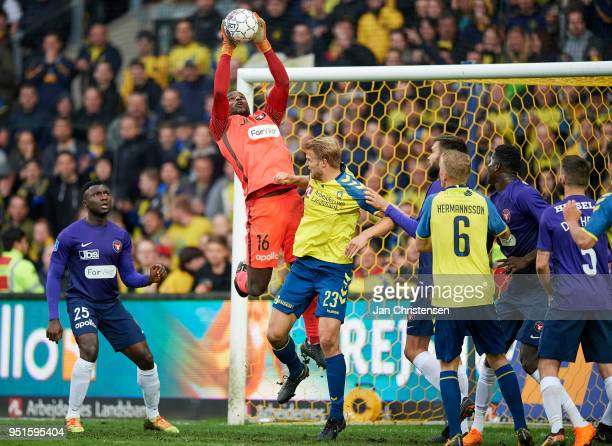 Goalkeeper Bill Hamid of FC Midtjylland in action during the Danish DBU Pokalen Cup Semifinal match between Brondby IF and FC Midtjylland at Brondby...