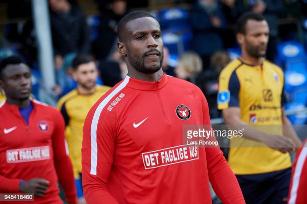 Goalkeeper Bill Hamid of FC Midtjylland walks on to the pitch prior to the Danish DBU Pokalen Cup quarterfinal match between Hobro IK and FC...