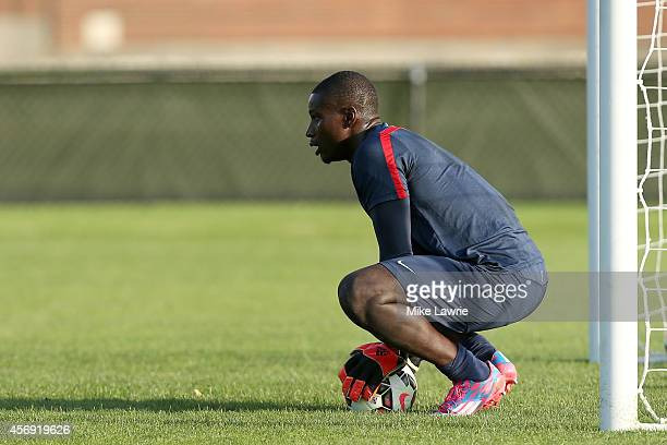 Goalkeeper Bill Hamid trains during a United States men's soccer training session at Ohiri Field on October 8 2014 in Boston Massachusetts