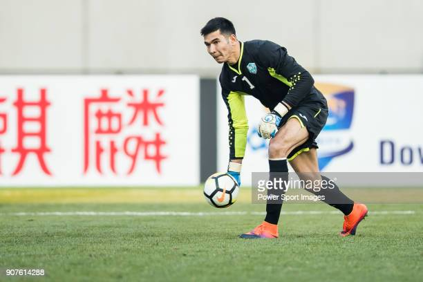 Goalkeeper Botirali Ergashev of Uzbekistan in action during the AFC U23 Championship China 2018 Group D match between Uzbekistan and Oman at Jiangyin...