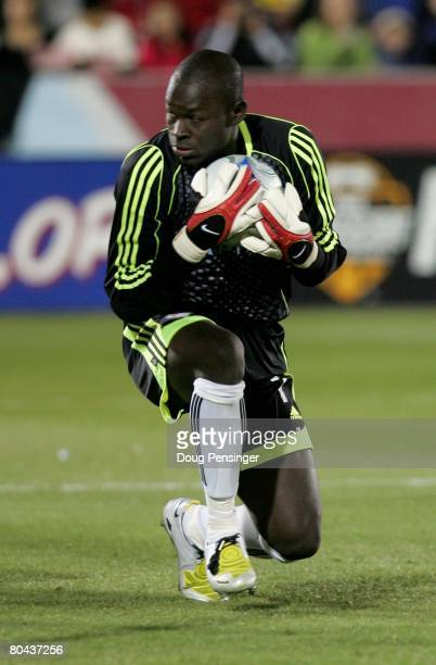 Goalkeeper Bouna Coundoul of the Colorado Rapids makes a save against the Los Angeles Galaxy at Dick's Sporting Goods Park on March 29, 2008 in...