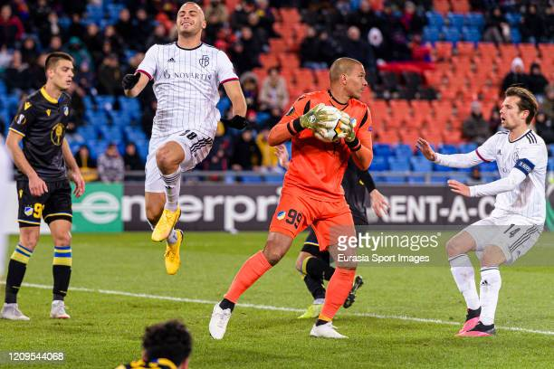 Goalkeeper Boy Waterman of Apoel defends the ball during the UEFA Europa League round of 32 second leg match between FC Basel and APOEL Nikosia at St...