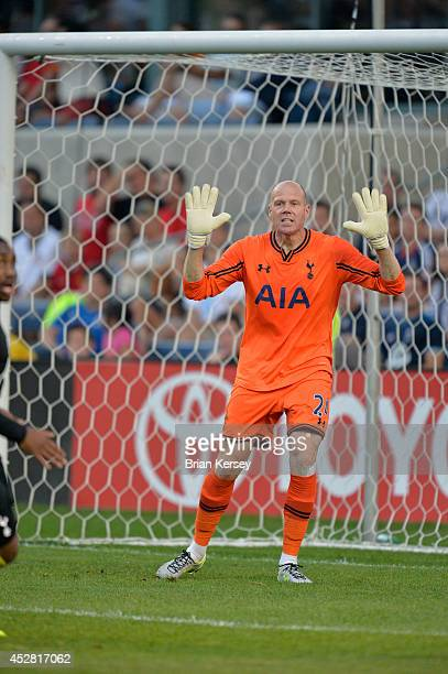Goalkeeper Brad Friedel of Tottenham Hotspur shouts to his teammates during the first half against the Chicago Fire at Toyota Park on July 26 2014 in...