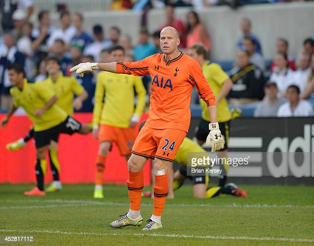 Goalkeeper Brad Friedel of Tottenham Hotspur signals to his teammates during the first half against the Chicago Fire at Toyota Park on July 26 2014...