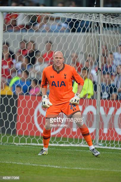Goalkeeper Brad Friedel of Tottenham Hotspur watches play during the first half against the Chicago Fire at Toyota Park on July 26 2014 in Bridgeview...