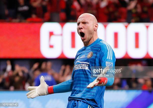 Goalkeeper Brad Guzan of Atlanta United reacts after the first goal scored by Josef Martinez in the first half against the Portland Timbers during...