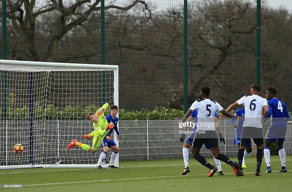 Goalkeeper Bradley Collins of Chelsea fails to stop Connor Ogilvie of Tottenham Hotspur (out of picture) scoring during the Premier League 2 match between Tottenham Hotspur and Chelsea on January 6, 2017 in Enfield, England.