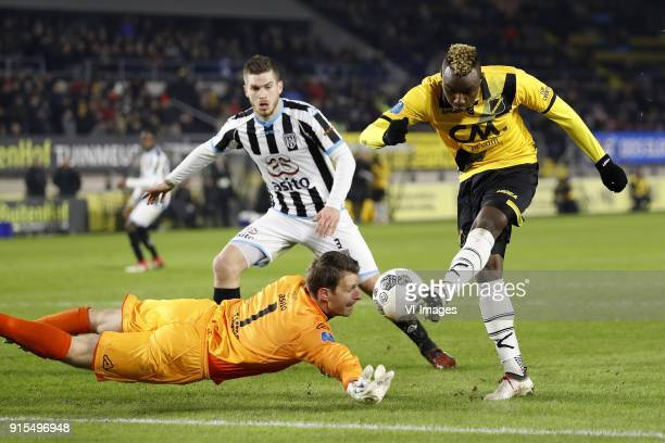 goalkeeper Bram Castro of Heracles Almelo Dries Wuytens of Heracles Almelo Thierry Ambrose of NAC Breda during the Dutch Eredivisie match between NAC...