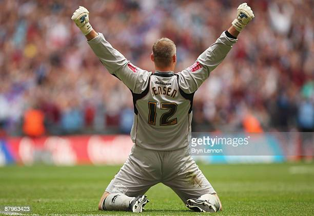 Goalkeeper Brian Jensen of Burnley celebrates victory during the CocaCola Championship Playoff Final between Burnley and Sheffield United at Wembley...