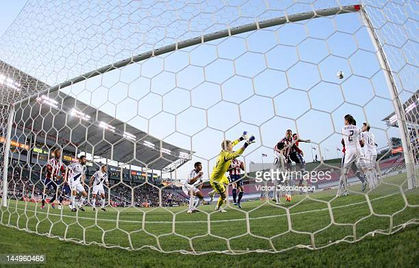 Goalkeeper Brian Perk of the Los Angeles Galaxy defends his net during a Chivas USA corner kick in the first half of the MLS match at The Home Depot...