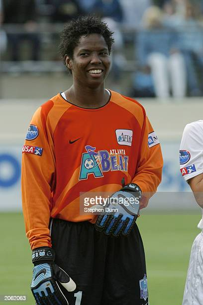 Goalkeeper Briana Scurry of the Atlanta Beat is introduced to the fans during the WUSA match against the San Diego Spirit at Torero Stadium on May 31...