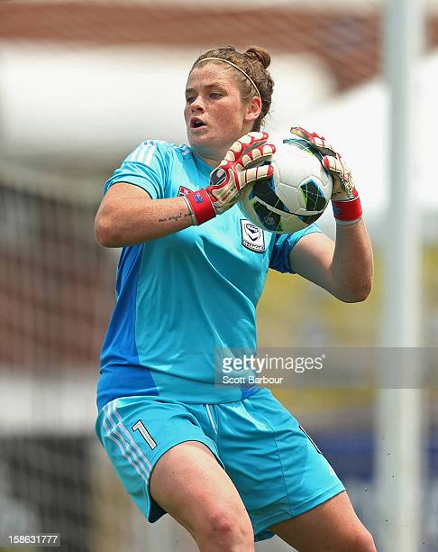 Goalkeeper Brianna Davey of the Victory catches the ball during the round 10 WLeague match between the Melbourne Victory and the Western Sydney...