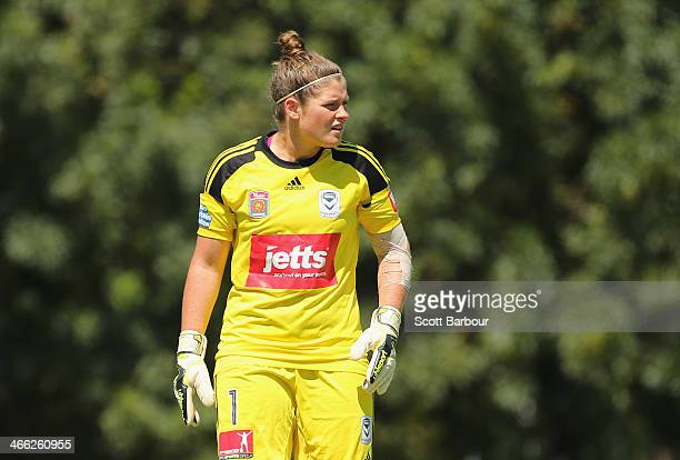 Goalkeeper Brianna Davey of the Victory looks on during the round 11 WLeague match between Melbourne Victory and Perth Glory on February 1 2014 in...
