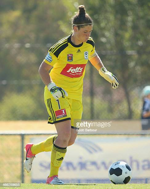 Goalkeeper Brianna Davey of the Victory looks to kick the ball during the round 11 WLeague match between Melbourne Victory and Perth Glory on...