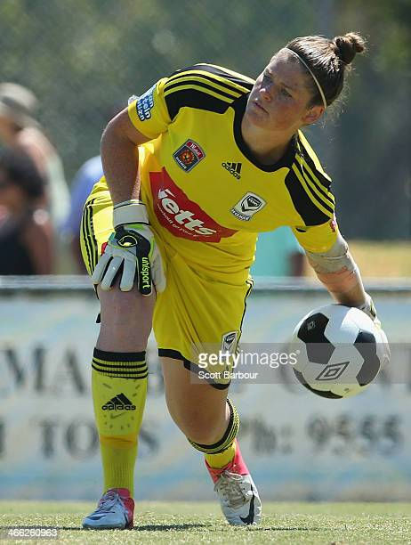 Goalkeeper Brianna Davey of the Victory looks to pass the ball during the round 11 WLeague match between Melbourne Victory and Perth Glory on...