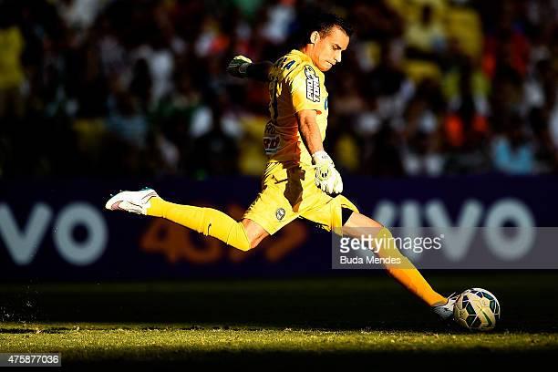 Goalkeeper Bruno of Coritiba kicks the ball during a match between Fluminense and Coritiba as part of Brasileirao Series A 2015 at Maracana Stadium...