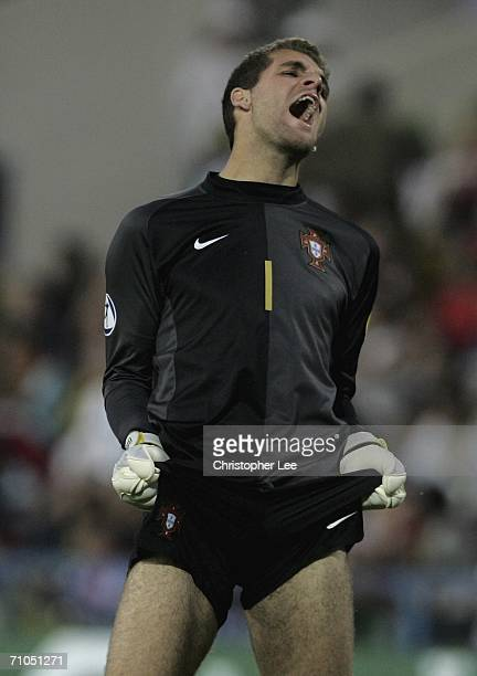 Goalkeeper Bruno Vale of Portugal pulls his shorts in frustration after his side miss a shot at goal during the UEFA U21's Championship 2006 match...