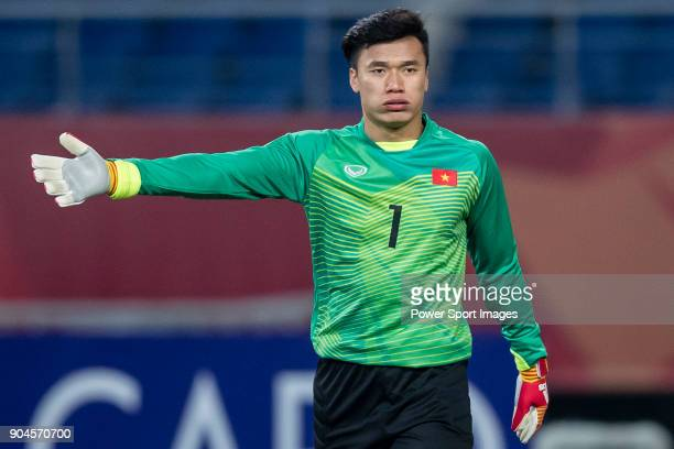 Goalkeeper Bui Tien Dung of Vietnam gestures during the AFC U23 Championship China 2018 Group D match between South Korea and Vietnam at Kunshan...
