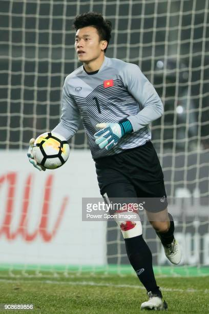 Goalkeeper Bui Tien Dung of Vietnam in action during the AFC U23 Championship China 2018 Quarterfinals match between Iraq and Vietnam at Changshu...