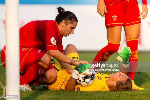 Goalkeeper Cabarkapa of Montenegro goes down injured during the UEFA Women's EURO 2022 Qualifier match between Montenegro and Germany at Pod Goricom...