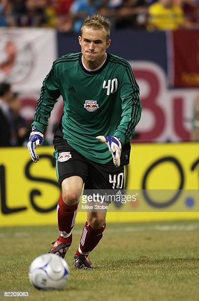 Goalkeeper Caleb PattersonSewell of the New York Red Bulls kicks the ball down field against FC Barcelona at Giants Stadium in the Meadowlands on...