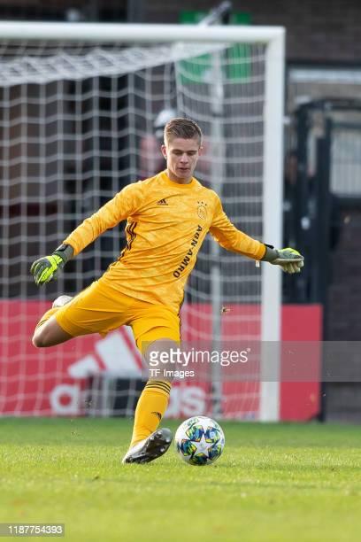 goalkeeper Calvin Raatsie of Ajax Amsterdam U19 controls the ball during the UEFA Youth League match between Ajax Amsterdam U19 and FC Valencia U19...