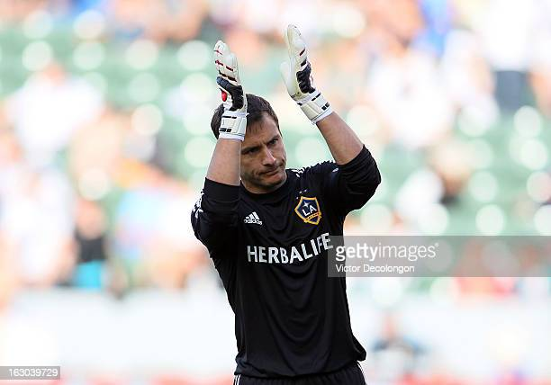 Goalkeeper Carlo Cudicini of the Los Angeles Galaxy acknowledges the fans after their MLS match victory against the Chicago Fire at The Home Depot...