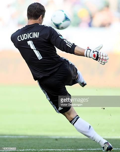 Goalkeeper Carlo Cudicini of the Los Angeles Galaxy kicks the ball into play during the MLS match against Chicago Fire at The Home Depot Center on...