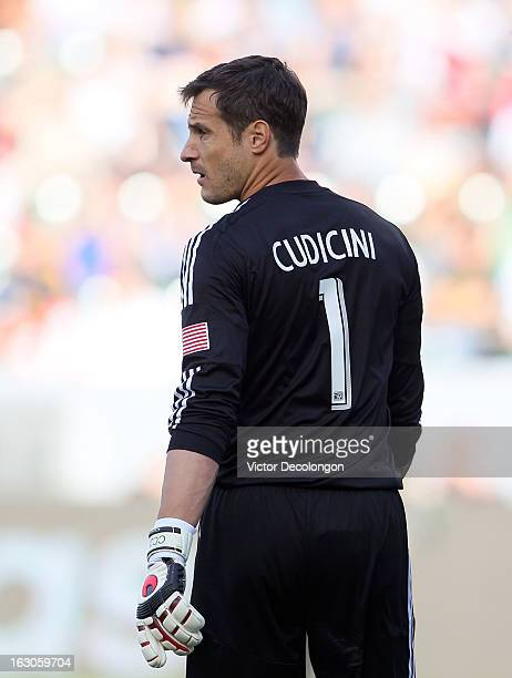 Goalkeeper Carlo Cudicini of the Los Angeles Galaxy looks on during the MLS match against Chicago Fire at The Home Depot Center on March 3 2013 in...
